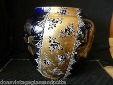 Large Hautin Boulenger HB & Cie Choisy-le-Roi Faience Vase Cobalt with Gold Gilt