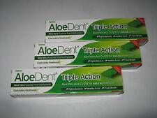 3  x 100ml ALOE DENT Aloe Vera & CoQ10 TOOTHPASTE TRIPLE ACTION (Fluorite Free)