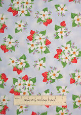 Henry Glass & Co Strawberry Bears Collection Blossoms Berries Cotton Fabric YARD