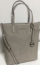 NEW Michael Kors Hayley Large N/S Cement Perforated Leather Zip Top TOTE Handbag