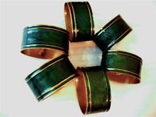 "Set of 6 Brass W/ Green Enamel Dinner Table Napkin Rings Made in India 1.5"" x 2"""