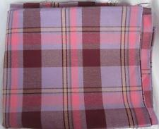 """Vintage Fabric Purple Pink Plaid 4.75"""" Repeat Woven Polyester Blend 2 Yds x45"""""""