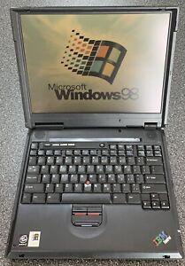 "RARE Vintage IBM Thinkpad A22m Laptop Windows 98 Pentium III 15"" LCD WORKING"
