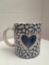 Gibson Stoneware Sponge Blue Heart Coffee Cups Mug