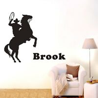 Custom Personalised Name Cowboy Wall Stickers Kids Boy Vinyl Decal Decor DIY