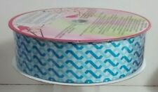 New Huge Roll Of Wire-Edge Blue Zigzag Ribbon Gift Wrapping Baskets Father's Day