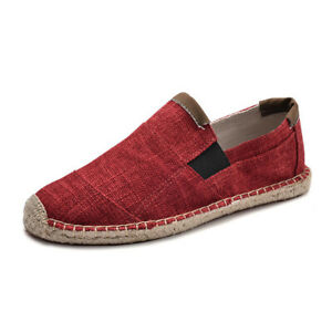 Men Linen Canvas Shoes Causal Comfy Breathable Loafer Slip On Espadrilles Shoes