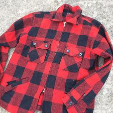 Vtg 1950's Winter King 100% Wool Hunting Lumberjack Buffalo Plaid CoAt JaCkEt L