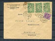 Infla Beleg DR 100+300 Mark MiF Gassen-Hamburg - b3757