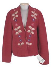 NEW! Geiger Austria Boiled Wool Jacket (Coat)! 8 e 38  Red with Floral Design