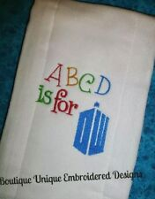 Doctor Who Burp Cloth - Abcd is for Dw Fun BaBy Shower GifT!