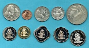 10 X PROOF COINS. 1973 BRITISH VIRGIN ISLANDS & 1974 BAHAMAS. (SOME TONING)