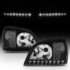 Black 2000 2005 Cadillac Deville Led Strip Headlights Headlamps 00 05 Left Right Fits 2001
