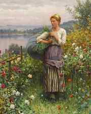 Rose Garden by D R Knight 8x10 Print Woman Flowers Growing Country Walk Art 176