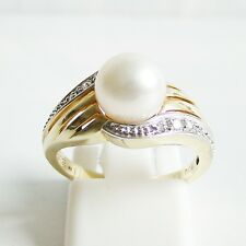 Ring Gold 585er Akoyaperle Diamanten Zuchtperlen 14 kt. Goldschmuck Damen
