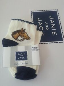 NWT Janie and Jack beige navy horse socks, size 6 Months baby girl Equedestrian