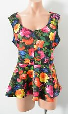City Chic Top Size Plus Small Black Red Green Floral Peplum Blouse