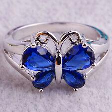Butterfly Sapphire Quartz Gems Silver Jewelry Men Women Ring W/Pramid Candle