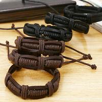 Fashion Men Bangle Handmade Vintage Punk Braided Genuine Leather Bracelet Hot