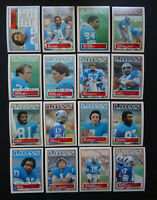 1983 Topps Detroit Lions Team Set of 16 Football Cards
