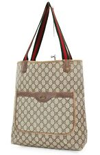 Authentic Vintage GUCCI Brown GG PVC Canvas and Leather Tote Bag Purse #37546