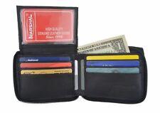 Genuine Leather Mens Zipper Zip Around ID Credit Card Bill Holder Bifold Wallet