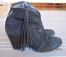 RUSSELL & BROMLEY BLACK SUEDE BOOTS WITH FRINGING. SIZE  6 / 39