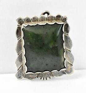 "Vintage Navajo Sterling Silver Stone Bolo Tie 25.3G 1.5""x1.25"""