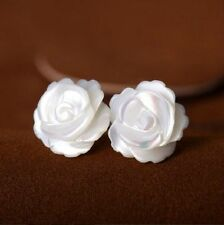 925 Sterling Silver Post White Mother day Gift Pearl Rose Flower Stud Earrings