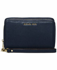 NWT Michael Kors Pebbled Leather Adele Double-Zip Wallet Clutch Navy Gold