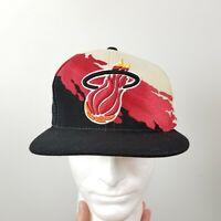 VINTAGE Mitchell & Ness Miami Heat Hat Cap Splash Paintbrush Black Red White 90s