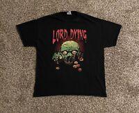 Lord Dying Mens T-Shirt XL Skull Eyeballs Graphic Spell Out Black EUC