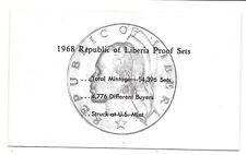 1968 Liberia 6 Coin C.O.A. Document~No Coins~Free Shipping