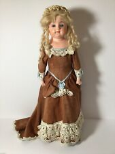 Antique Papier Mache Doll 19� Glass Eyes Original Finish Silk Dress Fab Boots!