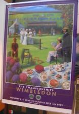 """1999 WIMBLEDON CHAMPIONSHIPS TENNIS POSTER  28"""" x 20"""" + SIGNED FRED STOLLE PHOTO"""