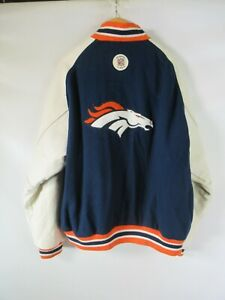 H0465 Reebok Denver Broncos NFL-Football Wool Leather Varsity Jacket Size M