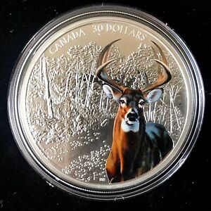 "Canada 2021 $30 Imposing Icons ""White-Tailed Deer"" 2 oz Silver Coin."