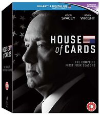 House Of Cards: Seasons 1-4 [Blu-ray Set, Region Free, Kevin Spacey] NEW