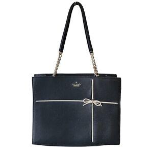 Kate Spade Purse Cherry Street Small Black Phoebe Tote Handbag w/ White Bow