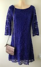 LACE Evening Dress + FREE Silver Bag - size 10 - Blue Long Sleeve Dinner Party