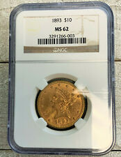 1893 $10 GOLD EAGLE COIN NGC MS 62