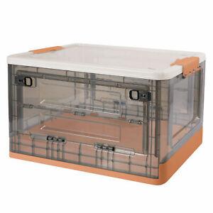 Large Foldable Plastic Storage Box w/ Wheels Stackable Storage Bin Organizer