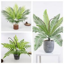 9 Heads Fake Plastic Plants Artificial Fern Bouquet Palm Leaves Green Home Decor