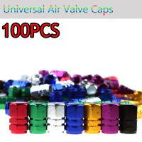 100Pcs Silver Universal Car Bike Air Port Cover Tire Rim Valve Wheel Stem Caps