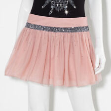 New Princess Vera Wang Sequin Flounce Miniskirt Skirt Juniors Size 7 Blush Pink