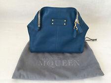 Alexander McQueen Dark Sky Blue Leather De Manta Clutch Handbag Case Purse.