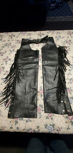Used Interstate Leather motorcycle Chaps Size Lg