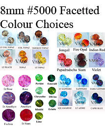 8mm #5000 Swarovski Crystal Facetted Round 12p Color choices Crystals Kristal