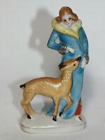Vintage Porcelain Lady in Fur Coat with deer Figurine - Lady with Deer - Japan