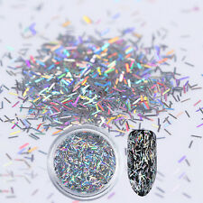 1g Holographic Silver Stripe Nail Sequins Holo Laser Flakes UV Gel Paillette